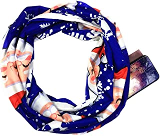 ⭐️ QIQIU Loop Zipper Convertible Infinity Pocket Scarves Womens Christmas Print Elegant Scarves