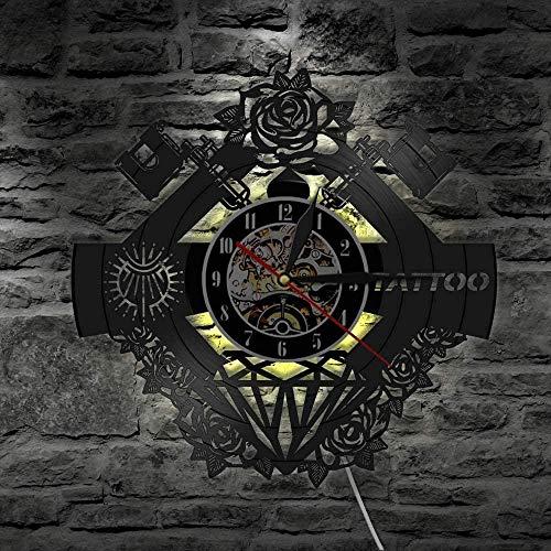 7 Color LED Luz Vinilo Record Reloj de Pared Tatuaje Estudio Signo Tatuaje Nombre Personalizado Muro Clcok Tatuaje Tienda Tatuaje Máquina Decoración de Pared Hipster Hombres Regalo