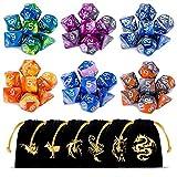 CiaraQ Poliédrico Dados, 6 x 7 (42 Piezas) Colores Dobles Dados de Juego para Dungeons and Dragons...