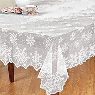 Winter Wonderland Party Decorations Snowflake Table Cloth, 60x84inch Christmas Table Cloth Decorations/Xmas/Holiday/Birthday Party Supplies
