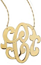 Jennifer Zeuner Gold-Vermeil Large Emily Swirly Single Initial C Necklace