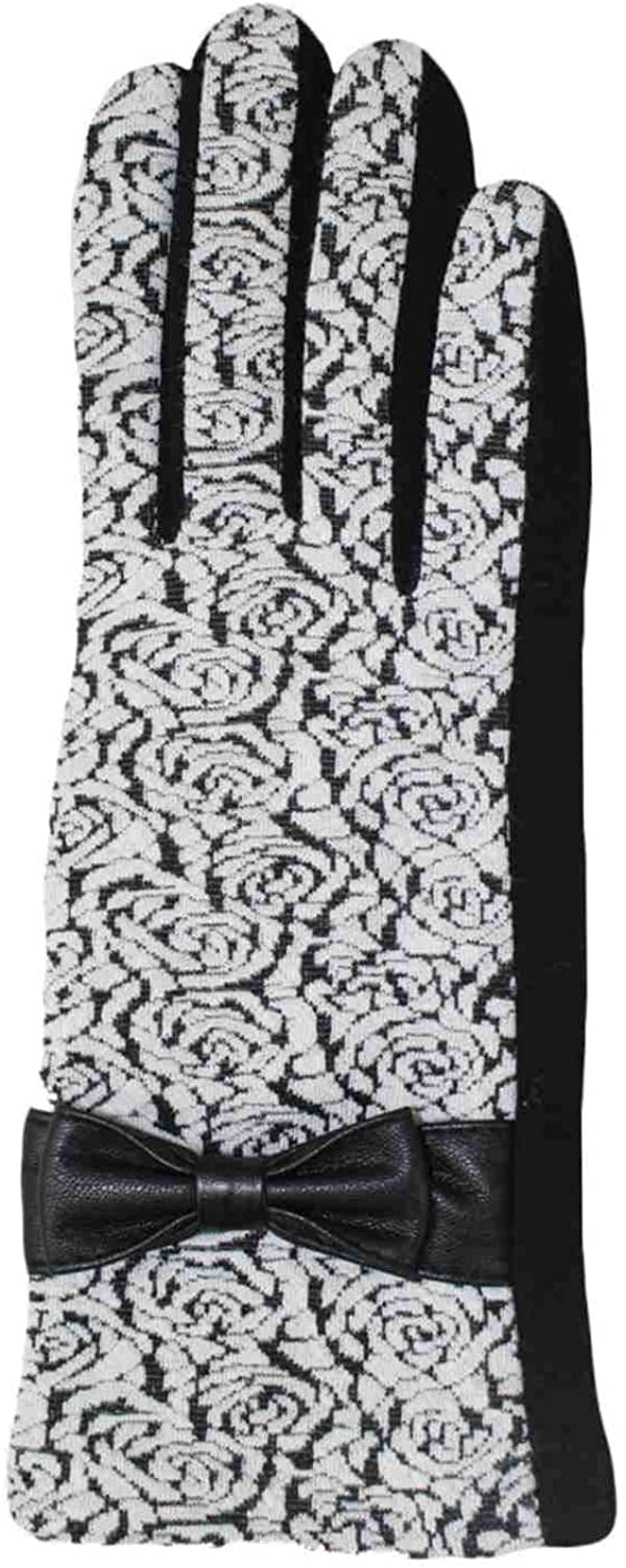 Womens Black & White Floral Rose Stretch Fit Texting & Tech Touchscreen Gloves