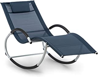 Blumfeldt Westwood Rocking Chair Tumbona Mecedora - Hamaca, 164 x 83 x 65 cm, Ergo Comfort: Superficie ergonómica, Ergo Relax: Almohada Regulable y extraíble, Azul Oscuro
