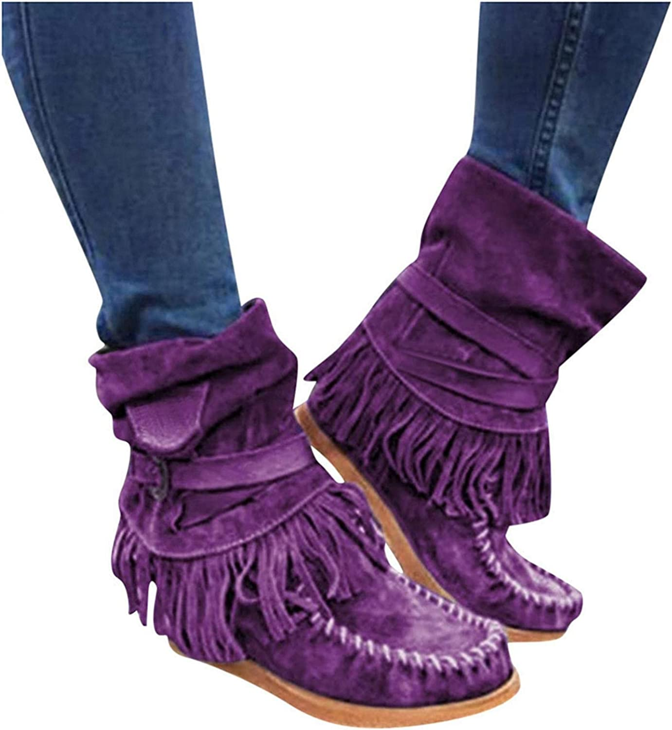 Cowboy Tassel Ankle Boots for Women Winter Warm Faux Suede Fring