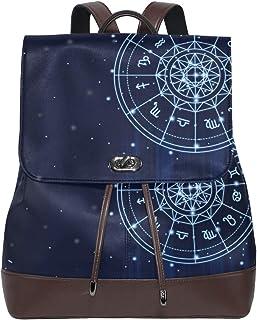FAJRO Mochila de Piel con 12 Constelaciones