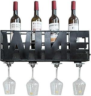 Organisation de rangement de cuisine Support mural pour casier à vin vintage en métal sur pied  Support de rangement mura...