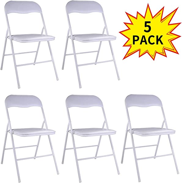 5 Pack Plastic Folding Chairs Wedding Banquet Seat Premium Party Event Chair White