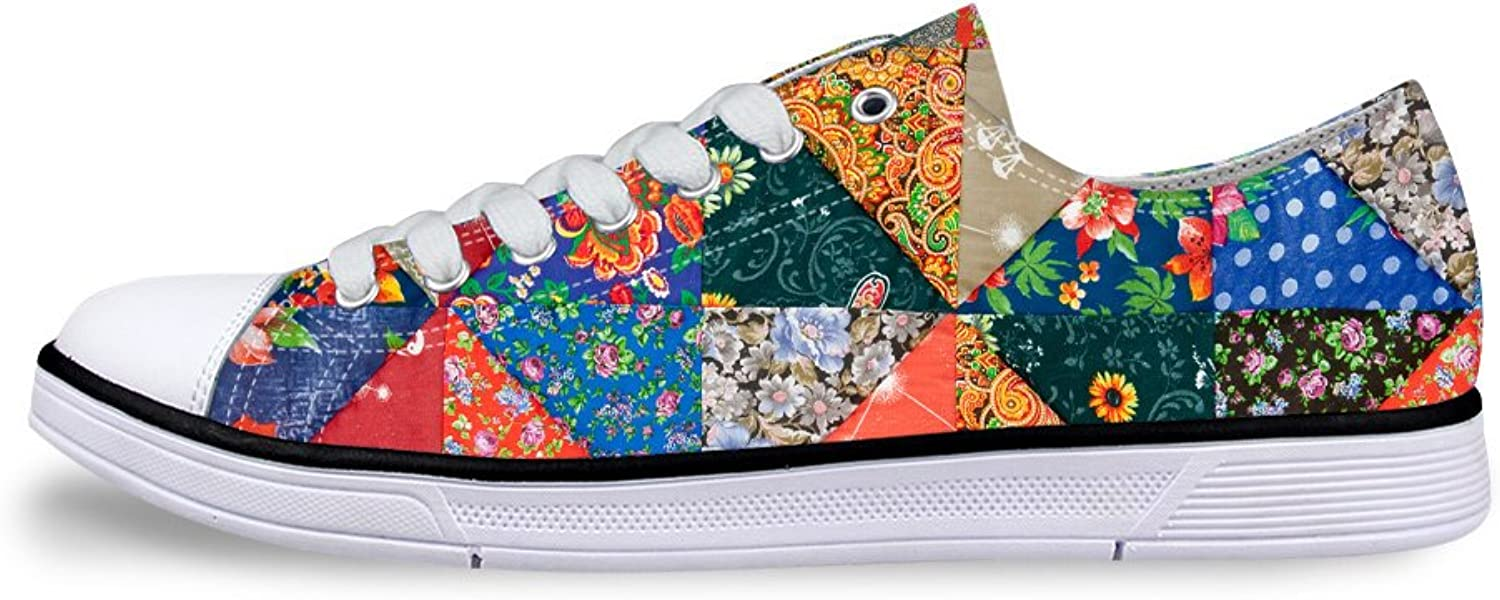 Mumeson Stylish Patchwork Pattern Women Low Top Canvas shoes Casual Laces Sneaker