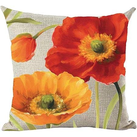 California Poppies by portiamonberg Poppy Throw Pillow Orange  Red Black Yellow Garden Floral 18x18 Square Throw Pillow by Spoonflower