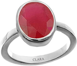 CLARA Certified Ruby (Manik) 3cts or 3.25ratti Original Stone Sterling Silver Astrological Ring for Men and Women