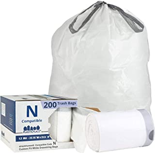 Plasticplace Custom Fit Trash Bags │ Simplehuman Code N Compatible (200 Count) │ White Drawstring Garbage Liners 12-13 Gallon / 45-50 Liter │ 22.75