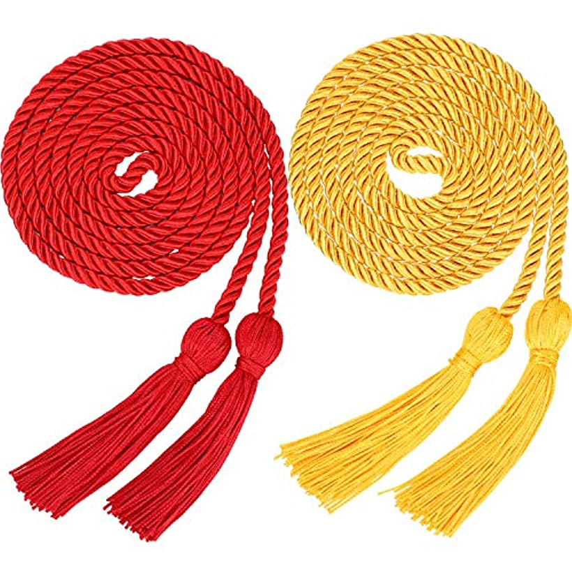 2 Pieces Graduation Cords Polyester Yarn Honor Cord with Tassel for Graduation Students (Gold and Red) ahml781286884020