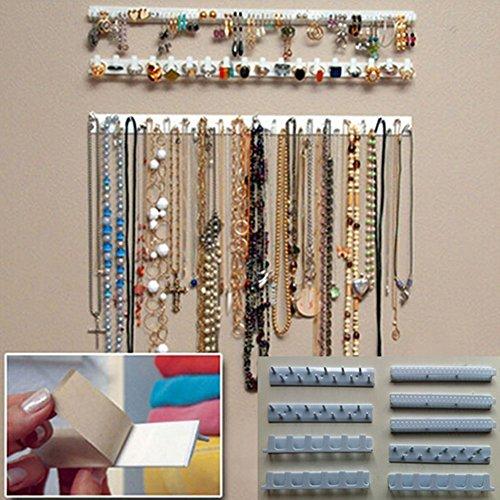 9-in-1 Selbstklebender Schmuckaufbewahrungs-Organizer, Schmuckständer, Halsketten, Haken zum Aufhängen von Ohrringen, Halsketten, Ringen