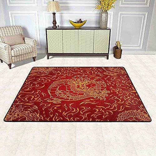 Asiatischer Drache-Feuerroter großer Innen- / Außenteppich, weiche rutschfeste Teppich-Fußmatten-Bodenmatte