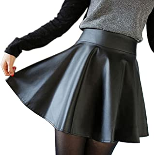 ABC(TM) Women Faux Leather High Waist Skater Flared Pleated Short Mini Skirt (Asia M)