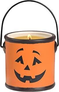 Blossom Bucket Jack-O-Lantern Candle in Ceramic Container with Handle