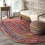 nuLOOM Tammara Handgeflochten Teppich, Baumwolle, Bunt, 90 cm x 150 cm oval