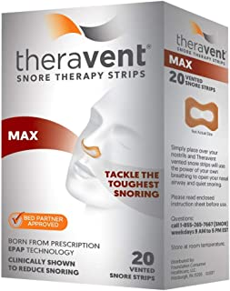 Theravent Snore Therapy Strips, Max, 20 Count Each (Pack of 8)