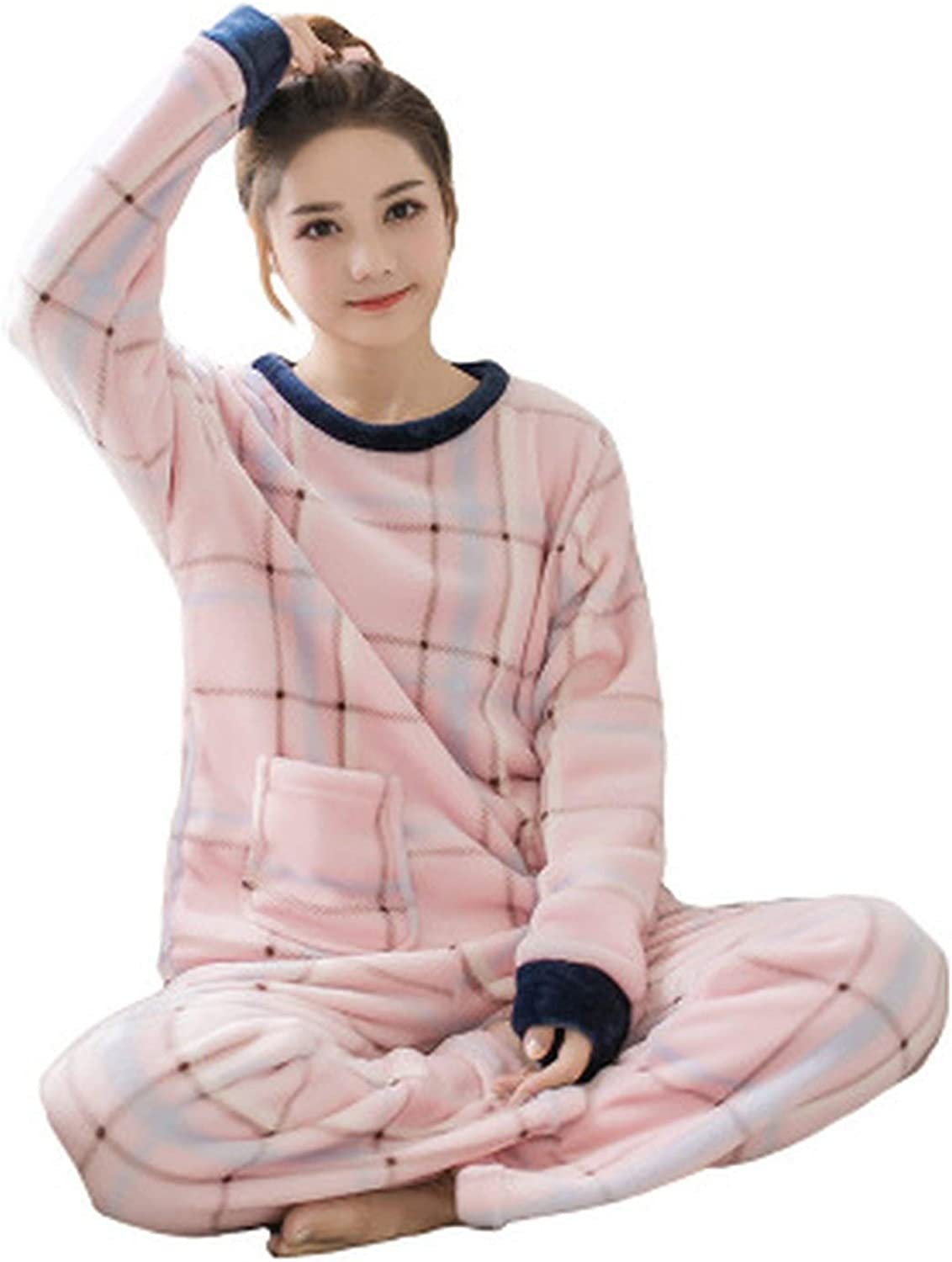 100Expectations Winter Pajama Polyester Full Trousers Lady Two Piece Pajama Set Cartoon Bear Home Clothing