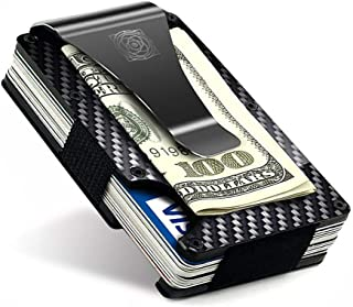 Carbon Fiber Wallet - Small Rigid Credit Card Holder Money Clip - RFID Protection