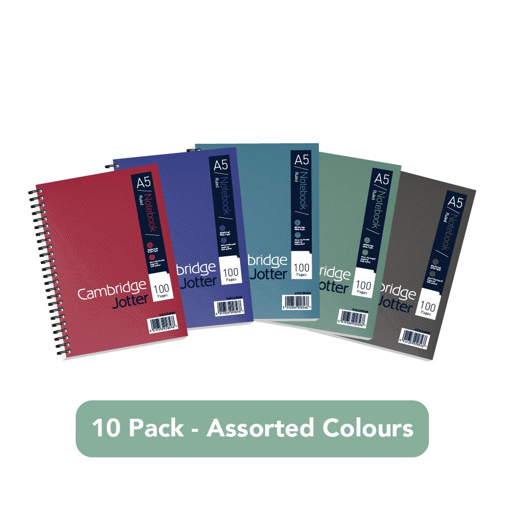 A5 Jotter Notebook by Cambridge, Ruled, 100 Page, Pack of 10