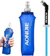 YFung Soft Hydration Water Bottle with Straw, TPU Collapsible Running Flask, BPA-Free Folding Running Water Bottles for Hy...