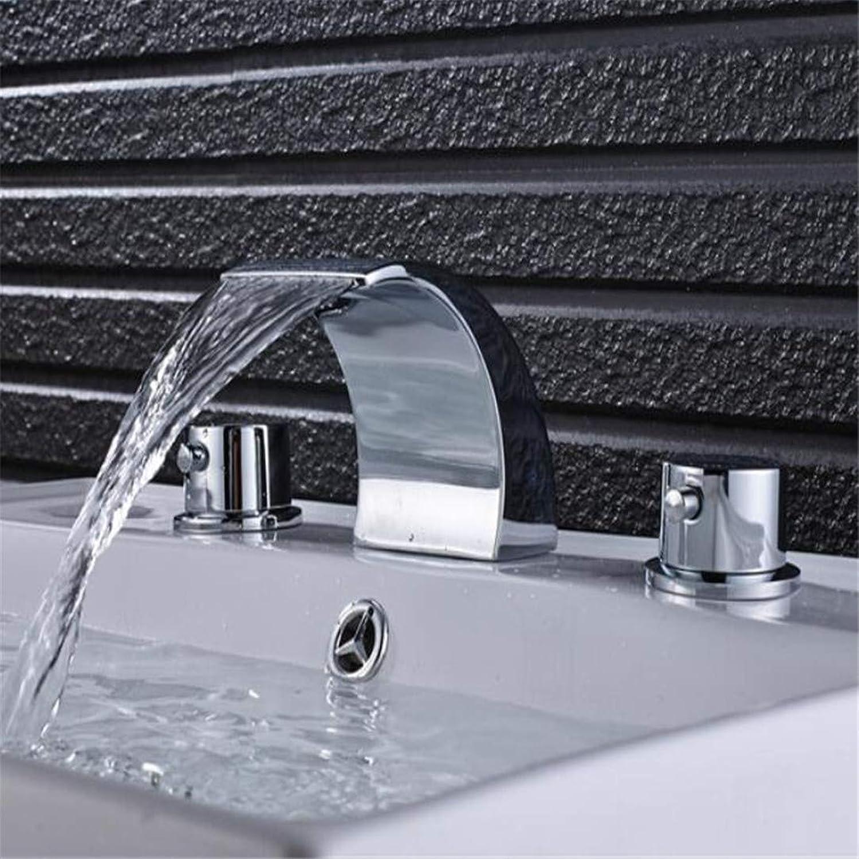 Wasserhahn Waschtischmischer Chrom Poliert Waschbecken Wasserhahn Doppel Griffe Mischbatterie Wasserfall Auslauf Massivem Messing Wasserhahn