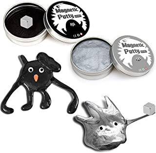 2 Pack Magnetic Slime Putty, Magnetic Putty with Magnet for Kids Science, Stress Relief Fidget Toy for Adults-Black,Silver