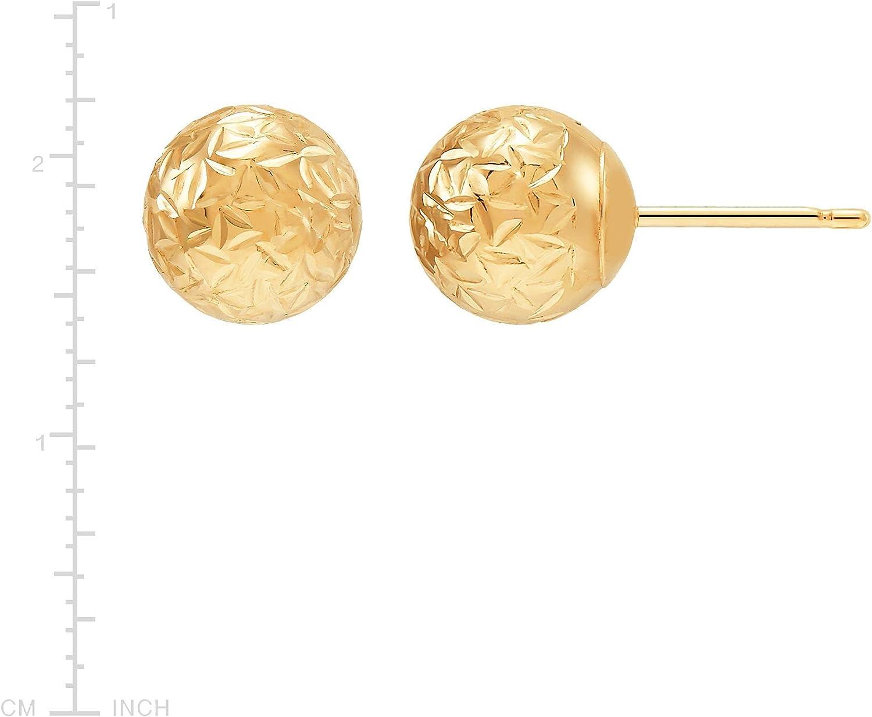 Welry 8 mm Crystal-Cut Ball Stud Earrings in 14K Gold
