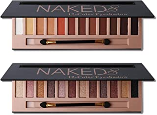 2Pcs Pro 12 Colors Naked Eyeshadow Makeup Palette - Shimmer Matte Pigmented Blendable Diamond Nude Natural Eye Shadow Pall...