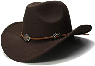 Gentle 2019 Women Men Wool Hollow Western Cowboy Hat Roll-up Wide Brim Cowgirl Jazz Equestrian Sombrero Cap Women Belt Buckle Fedora Hat (Color : Dark coffee, Size : 56-58cm)