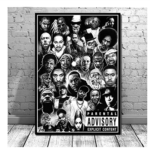 Suuyar 5STARS Hip Hop Rapper Rap Music Star Poster Prints Clan Legends Painting Canvas Art Wall Pictures Living Room Home Decor-50x70cm No Frame