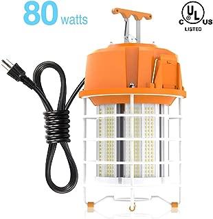 HYPERLITE Temporary LED Work Light 80W 10,000LM (300W Equiv) Durable Portable LED Work Lights 5000K LED Construction Hanging Light for Warehouse High Bay Construction Jobsite UL Listed