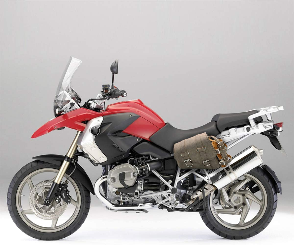 Sacoches de Moto universelles Sacs /à Outils lat/éraux en Cuir PU pour Harley Honda Suzuki Kawasaki Yamaha Sacoche-Marron C/ôt/é Droit