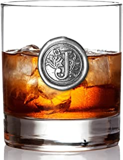 English Pewter Company 11oz Old Fashioned Whiskey Rocks Glass With Monogram Initial - Unique Gifts For Men - Personalized Gift With Your Choice of Initial (J) [MON110]