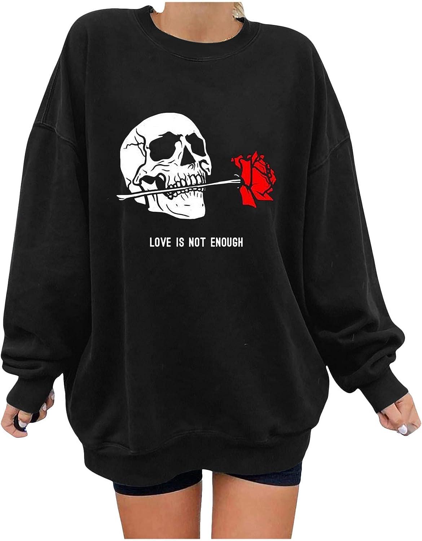 Aiouios Halloween Hoodies for Women Plus Size, Hoodies for Women Skull and Rose Design Sweatshirts Slouchy SweaterTops