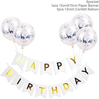 White Happy Birthday Banner Gold Confetti Balloons Letter Banner Birthday Party Decorations Boy Girl Kids Party Favors white blue