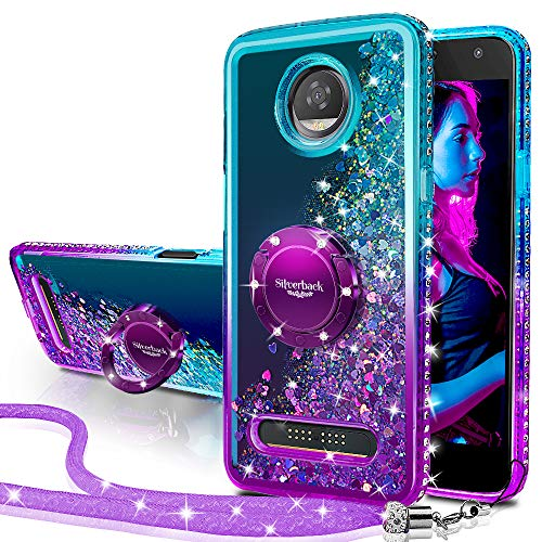 Moto Z2 Play Hülle, Moto Z2 Force Hülle, Silverback Moving Liquid Holografisch Sparkle Glitzer Hülle mit Kickstand Bling Diamant Strass Bumper Slim Schutzhülle für Motorola Moto Z2 Play, violett