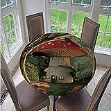 Fansu Runde Tischdecke Wasserabweisende, 3D Pflanze Blume Drucken Abwaschbar Gartentischdecke rutschfest Abwischbare Wachstuch Desktop Dekorative Tuch Hotel Bankett Party (Grüner Pilz,150cm)