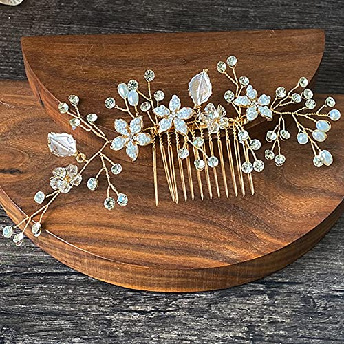 Flor de novia boda damas de honor vintage pequeñas perlas de diamantes de imitación de flor blanca Peine para el pelo de novia boda perla accesorio para el pelo para las mujeres (dorado)