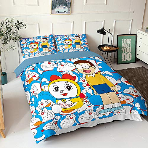 Meiju Duvet Cover Set Super Soft 3D Blue Cat-Shaped Robot Printing 3pcs, Microfiber Bedding Set Easy Care Double Single King Size Quilt Covers Pillowcases (Doraemon-2,King-220x230cm)