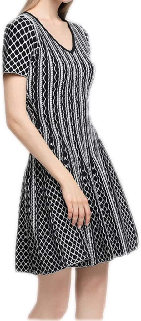Dress, Women's Cocktail Formal Swing Dress Gold Line Jacquard Dress Knit Short Sleeve V-Neck Striped Pleated Skirt 2 Colors 3 Sizes Sleeveless Slim Business Pencil (Color : A, Size : S)
