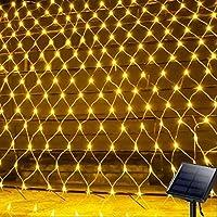 GAXQFEI ソーラーネットストリングライト、200Led Bankyard Patioネットライトバルコニーフェンスメッシュ妖精ライト文字列屋外防水3Mx2M 8モード外庭ライト、壁の屋上カーテンの装飾,暖かい白