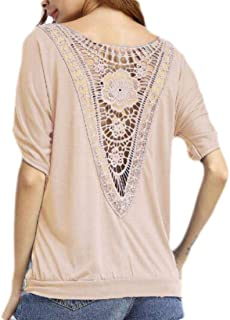 MK988 Women's Casul Cutout Crewneck Loose Fit Basic Short Sleeve Blouse Top Shirts