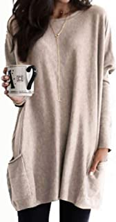 Casual Tops Womens Casual Long Sleeve Pullover Round Neck T Shirts Blouses Sweatshirts Tops with Pockets Tee (Color : Khak...