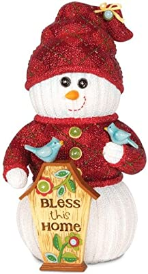 Pavilion Gift Company The Sockings 93038 Snowman Figurine, Bless This Home, 6-1/2-Inch