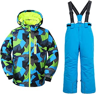 Big Boy's 2-Piece Colorblock Snow Pants and Jacket Snowsuit Ski Suit Waterproof Windproof Ski Jacket Colorful Unisex