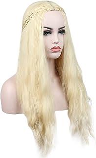 Kalyss Long Curly Blonde Synthetic Hair Wavy Wigs for Women Cosplay Wigs for Game of Thrones Daenerys Targaryen khaleesi