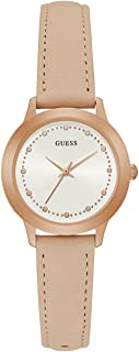 Guess Womens Quartz Watch, Analog Display and Leather Strap W0993L3