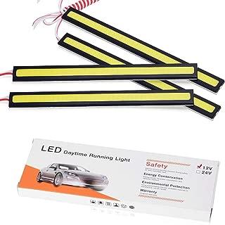 YINTATECH 4PCS Waterproof Car COB LED Light Strips High Power 12V 6W 6000K Slim Daytime Running DRL Fog Light Driving Lamp (White)
